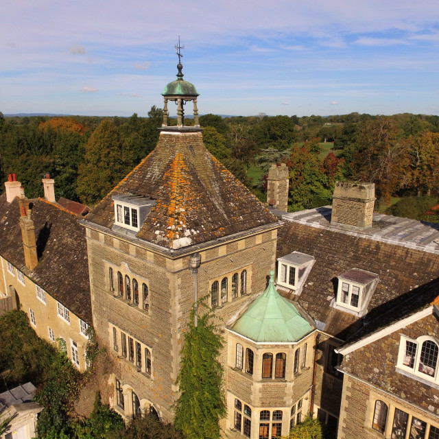 """Aerial image by drone of Sedgwick Park House."" stock image"