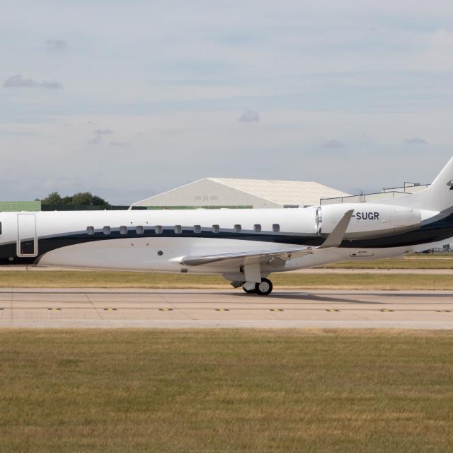 """4B9A5786 Embraer Legacy 650 G-SUGR 180804 EGCC"" stock image"