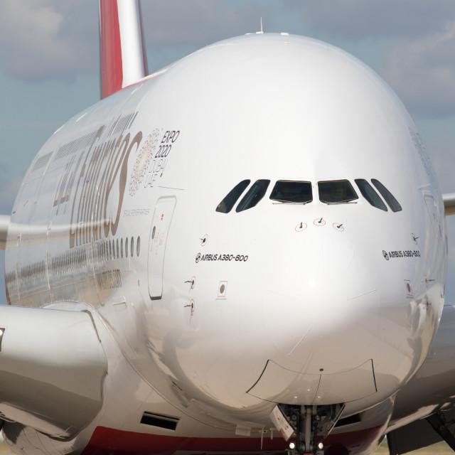 """""""4B9A5705 A380 A6-EDL 180804 EGCC"""" stock image"""