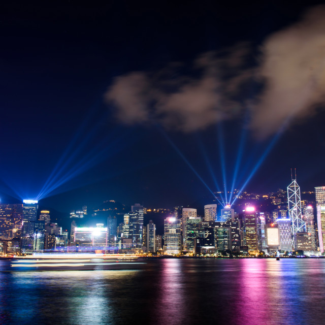 """Laser show over Hong Kong cityscape at downtown modern building"" stock image"