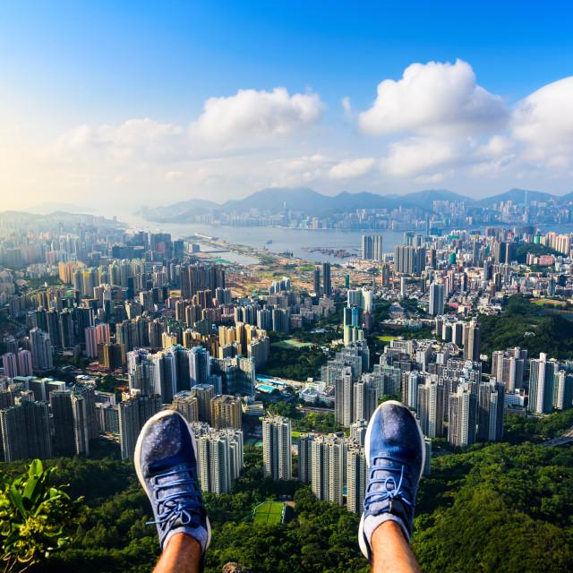 """Man enjoying Hong Kong view from the Lion rock"" stock image"
