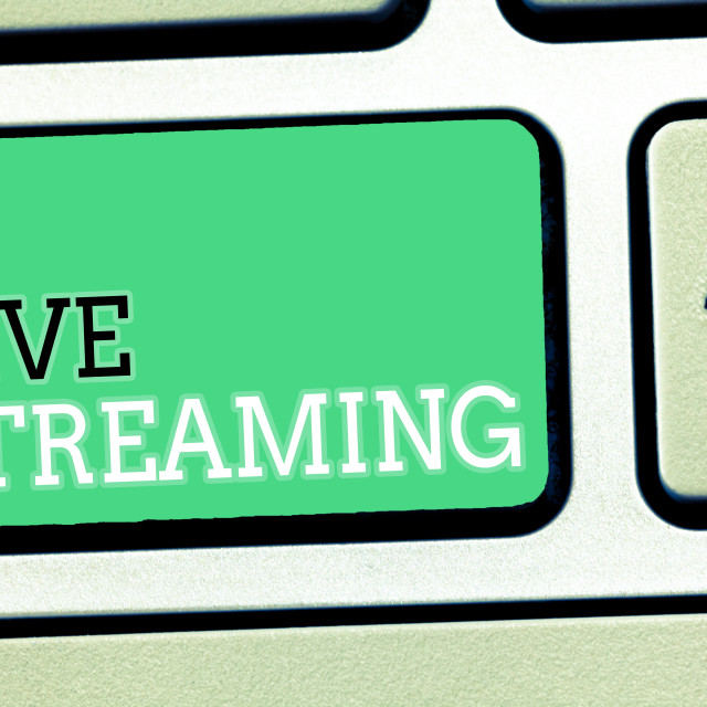 """""""Text sign showing Live Streaming. Conceptual photo Transmit live video..."""" stock image"""