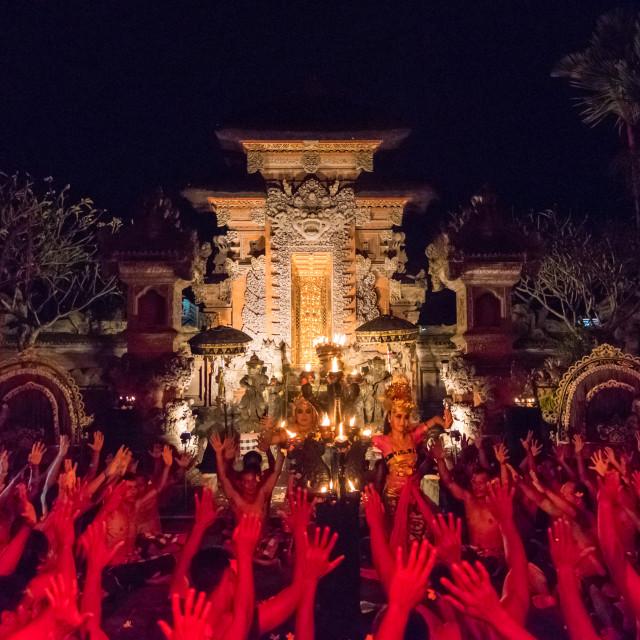 """Kecak Fire and Trance Dance at Pura Dalem Taman Kaja, Ubud, Bali, Indonesia"" stock image"
