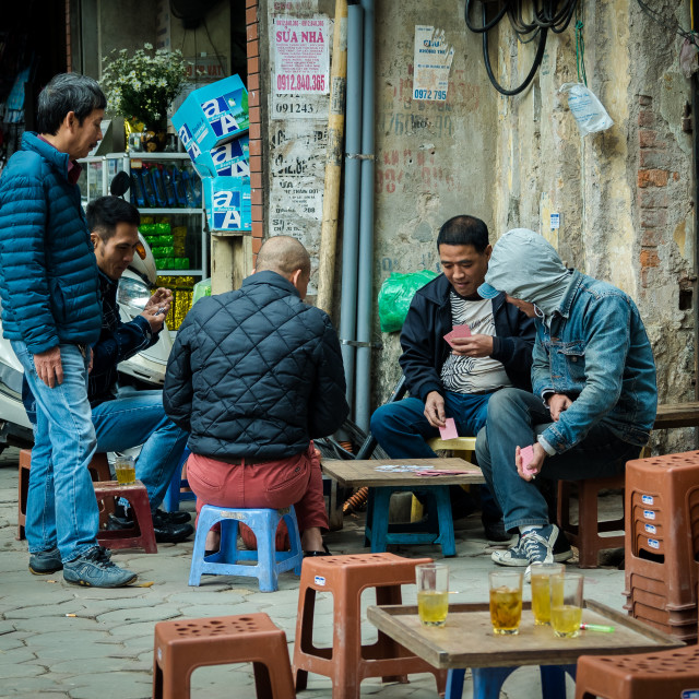"""Card players 1, Hanoi, Vietnam"" stock image"
