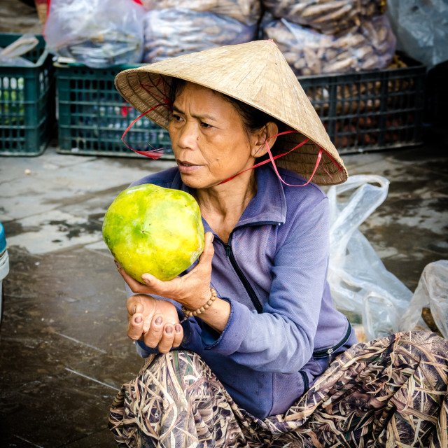 """Fruit seller with melon, Hội An, Vietnam"" stock image"