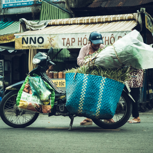 """Loaded motorbike, Hội An, Vietnam"" stock image"