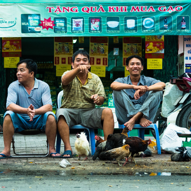 """""""Three men, 6 chickens and some pigeons - all laughing at the tourist, Ho Chi Minh City, Vietnam"""" stock image"""