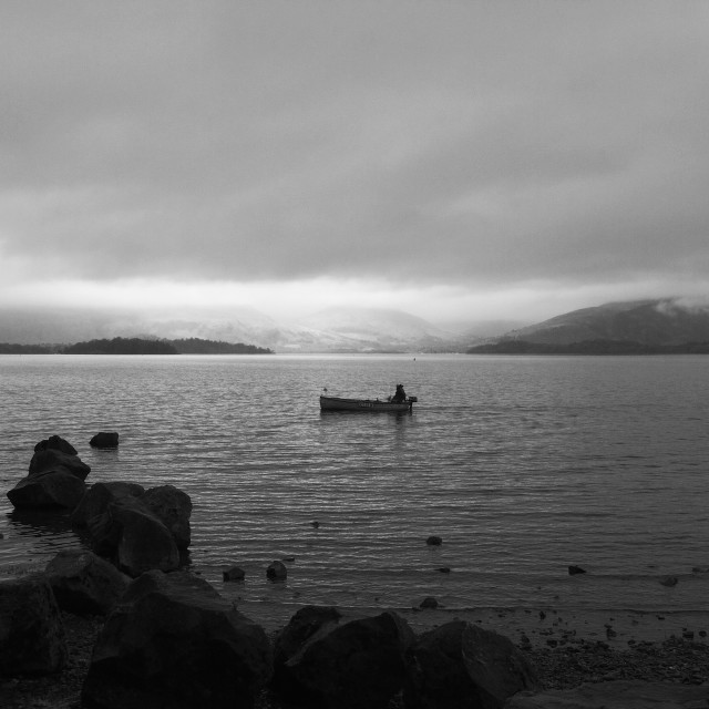 """Fishing Loch Lomond"" stock image"