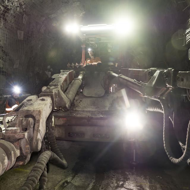 """Jumbo working underground"" stock image"