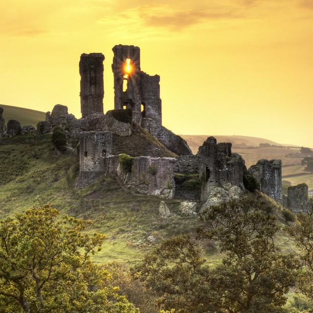 """Castles eye - Corfe Castle"" stock image"