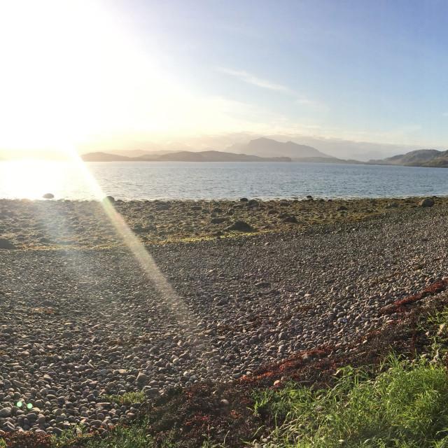 """Scottish Highlands Beach Panorama"" stock image"