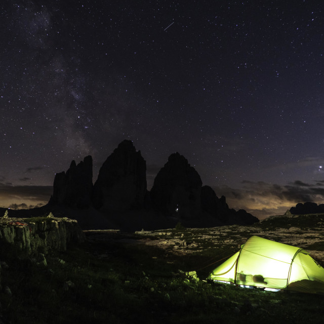 """Bivouac in front of the Tre Cime"" stock image"