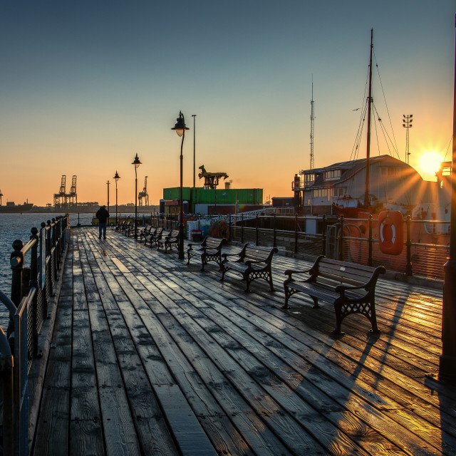 """Sunrise Over Ha'penny Pier in Harwich"" stock image"
