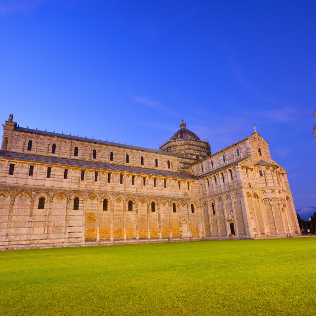 """Piazza dei miracoli, with the Basilica and the Leaning Tower, Pisa"" stock image"
