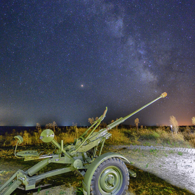 """Milky Way and the Perseids with an army cannon."" stock image"