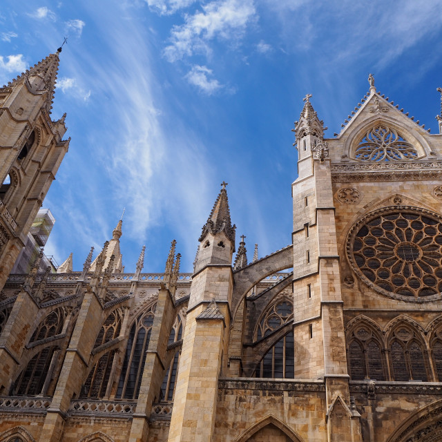 """Gothic cathedral of Leon, Spain."" stock image"