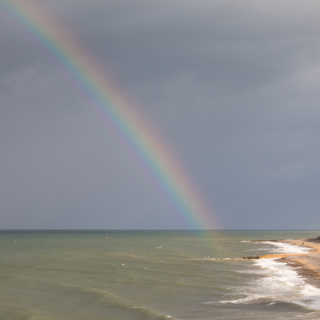 """""""Rainbow over the North Sea, seen from Cromer"""" stock image"""