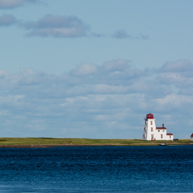 """Distant Lighthouse Northport Harbour"" stock image"