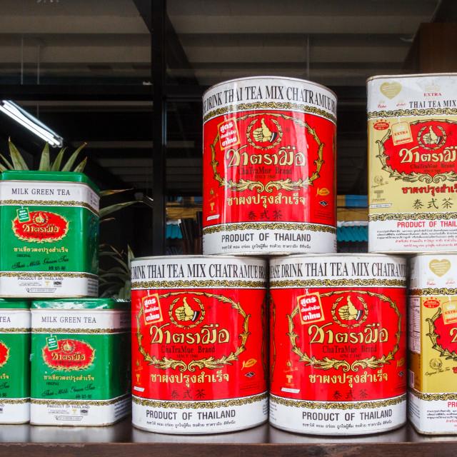 """""""Tins of Thai tea"""" stock image"""