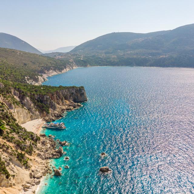 """Aerial view of Agiofili Beach, Lefkada, Greece."" stock image"
