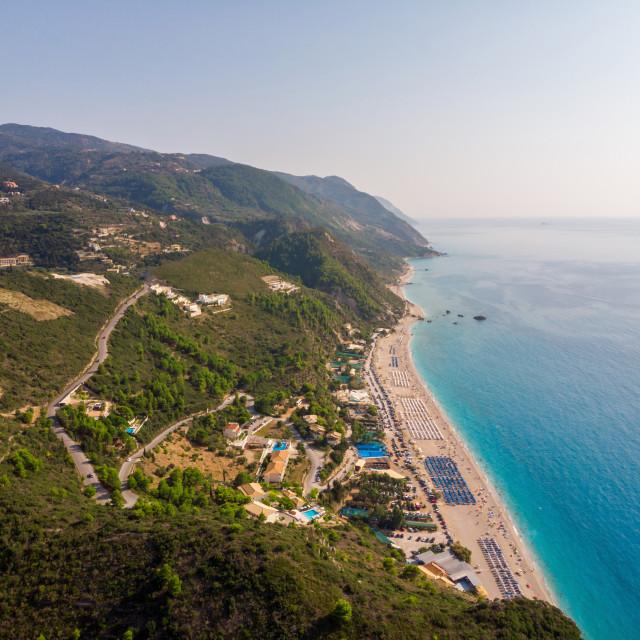 """Aerial view of Kathisma Beach, Lefkada, Ionian Islands, Greece."" stock image"