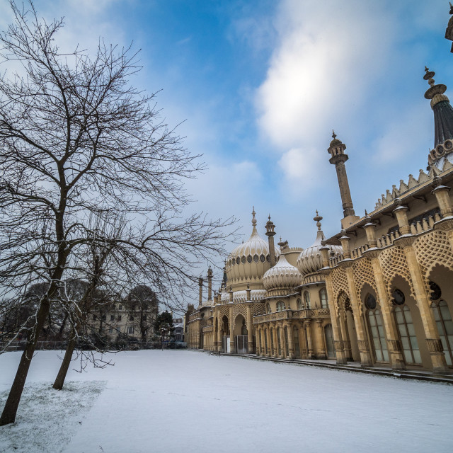 """Snow at the Royal Pavilion"" stock image"