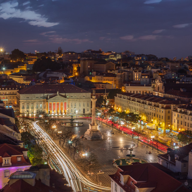 """Lisbon at night"" stock image"