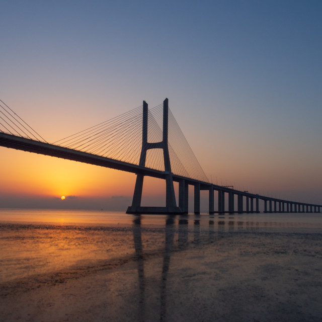 """Vasco de Gama bridge sunrise"" stock image"