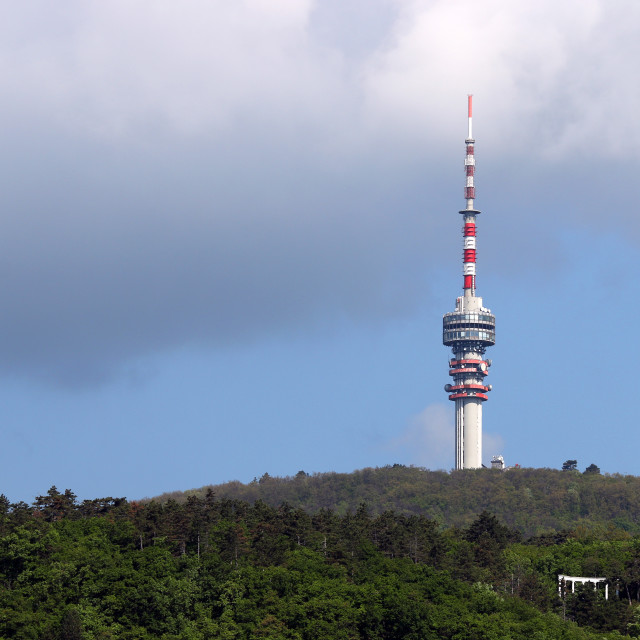 """""""tv tower on hill Pecs Hungary"""" stock image"""
