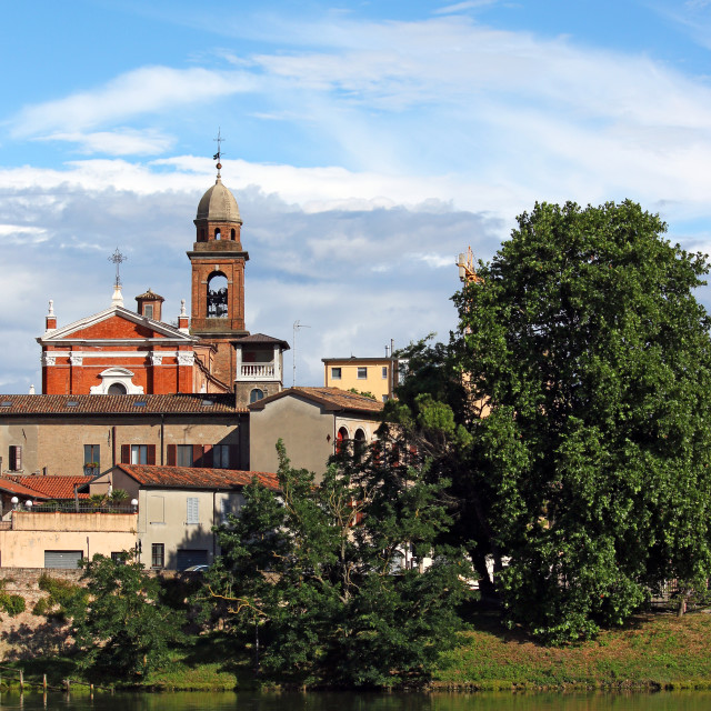"""church tower and buildings Rimini Italy"" stock image"