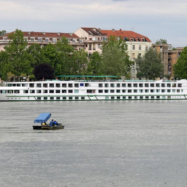 """""""Cruiser ship on Danube River Novi Sad Serbia"""" stock image"""