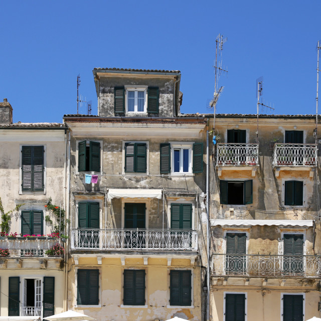 """old buildings Corfu town Greece"" stock image"