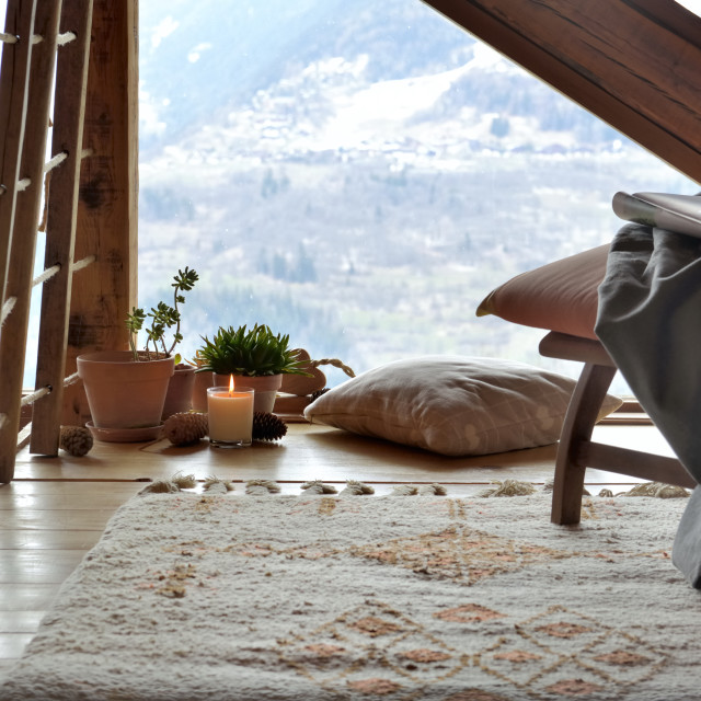 """""""cosy break room in a mountain cottage"""" stock image"""
