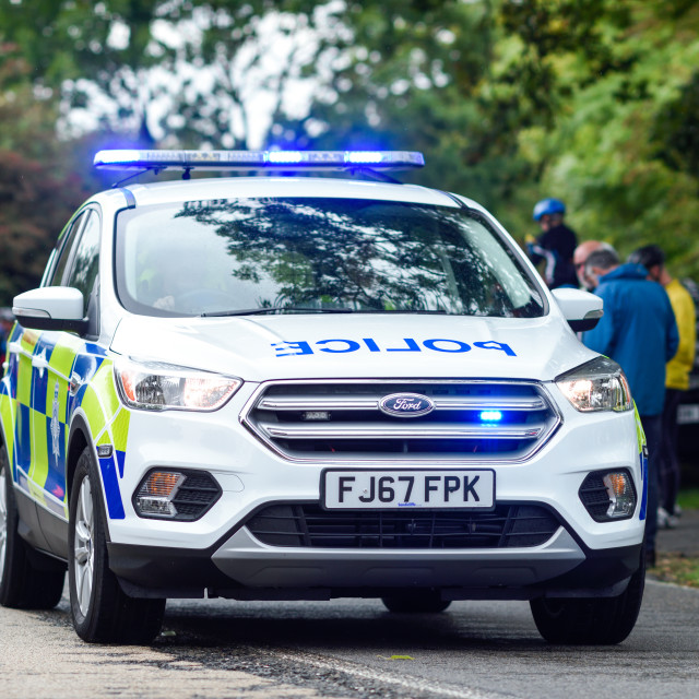 """Tour of Britain 2018.Police Escort Vehicle."" stock image"