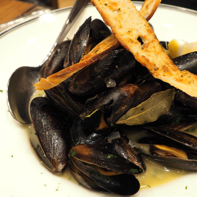 """""""A passion for classic French mussels"""" stock image"""