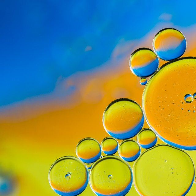 """Orange Blue and Yellow Bubbles"" stock image"