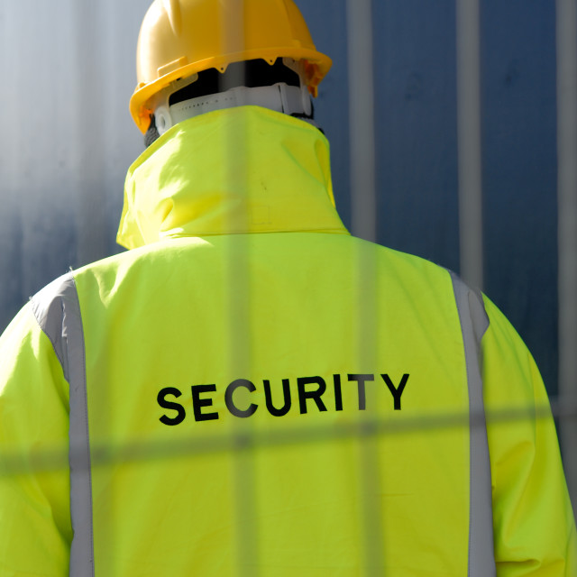 """Security Man on patrol duty at Property."" stock image"