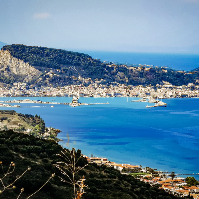 """""""Zakinthos town from the mountains."""" stock image"""