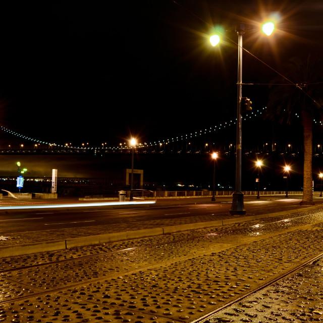 """""""San Francisco-CA - The Embarcadero and Bay Bridge"""" stock image"""