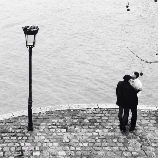 """""""Love on the Banks of the River Seine"""" stock image"""