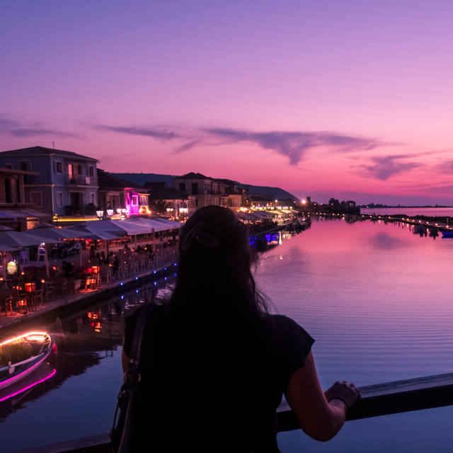 """""""Lefkada Harbour at sunset"""" stock image"""