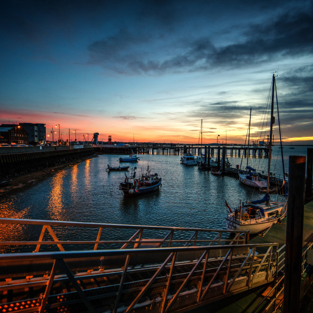 """A Red Sky at Night in Harwich Harbour"" stock image"