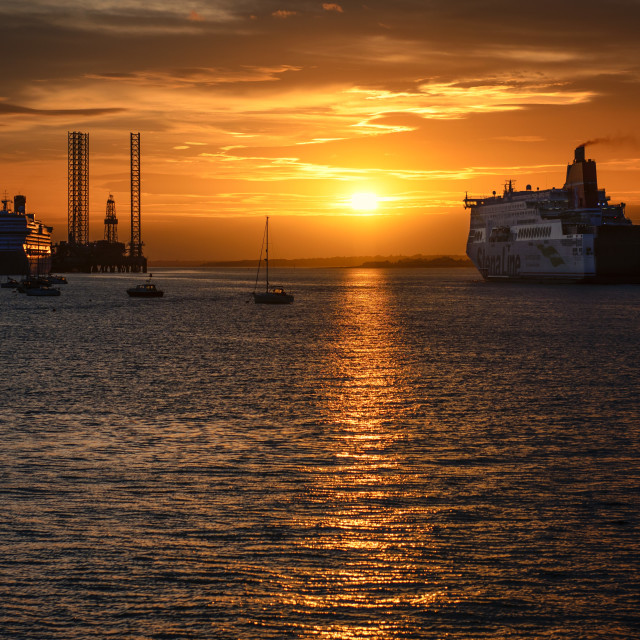 """Passing of Ships at Harwich International"" stock image"