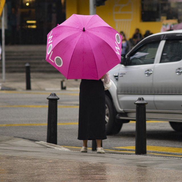 """Street Photo - Rainy Day (pink)"" stock image"