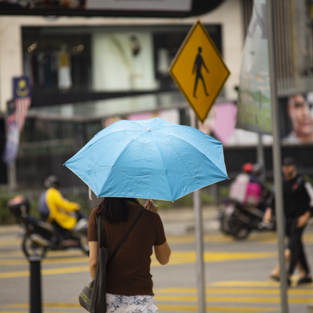 """Street Photo - Rainy Day (Blue)"" stock image"