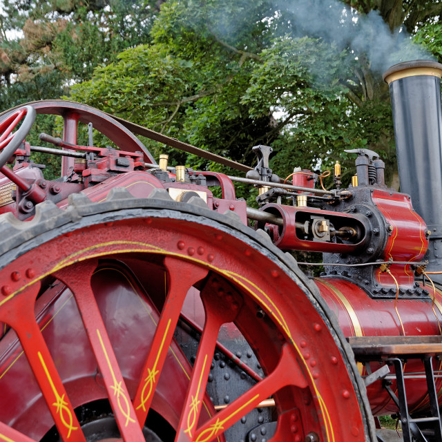 """Detail of a Vintage Steam Traction Engine"" stock image"
