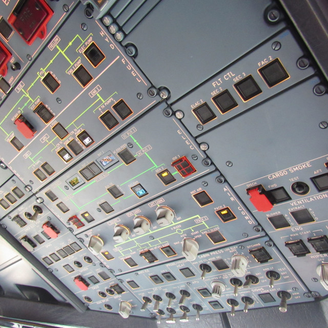 """""""Airbus A319 Overhead Panel"""" stock image"""