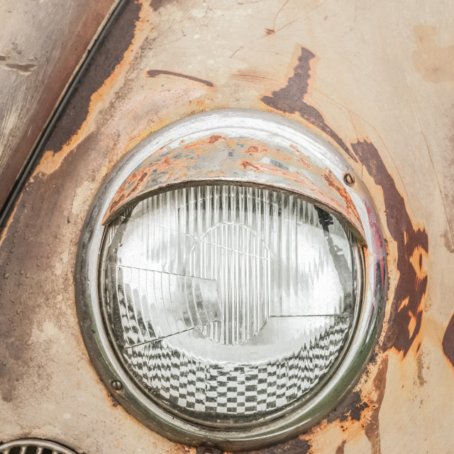 """headlamp and rusting vehicle hood"" stock image"