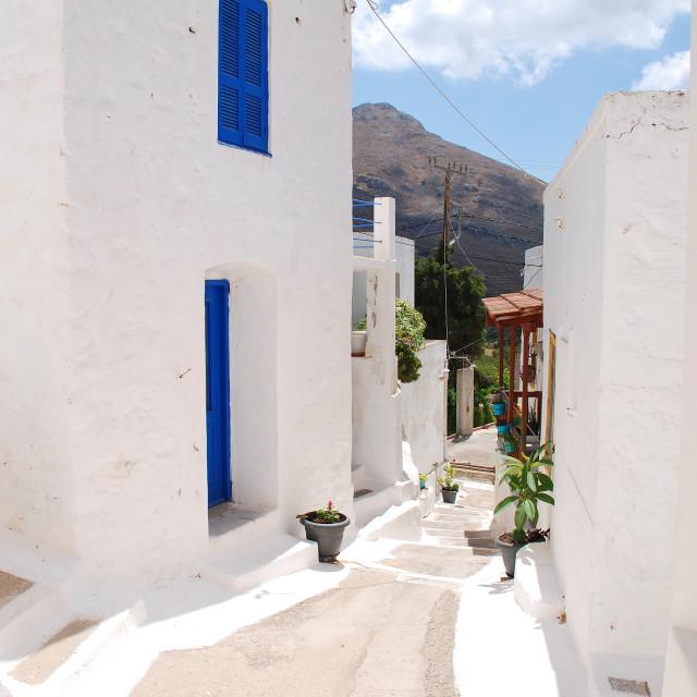 """""""Megalo Chorio alley, Tilos"""" stock image"""