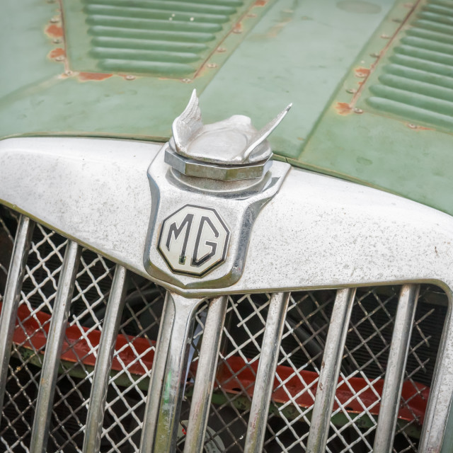 """MG vehicle badge close-up"" stock image"